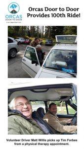 Volunteer Driver and Rider celebrate 100 rides in the Door to Door Program
