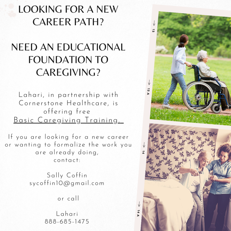 Free Basic Caregiving Class offered through Lahari facilitated by Cornerstone Healthcare
